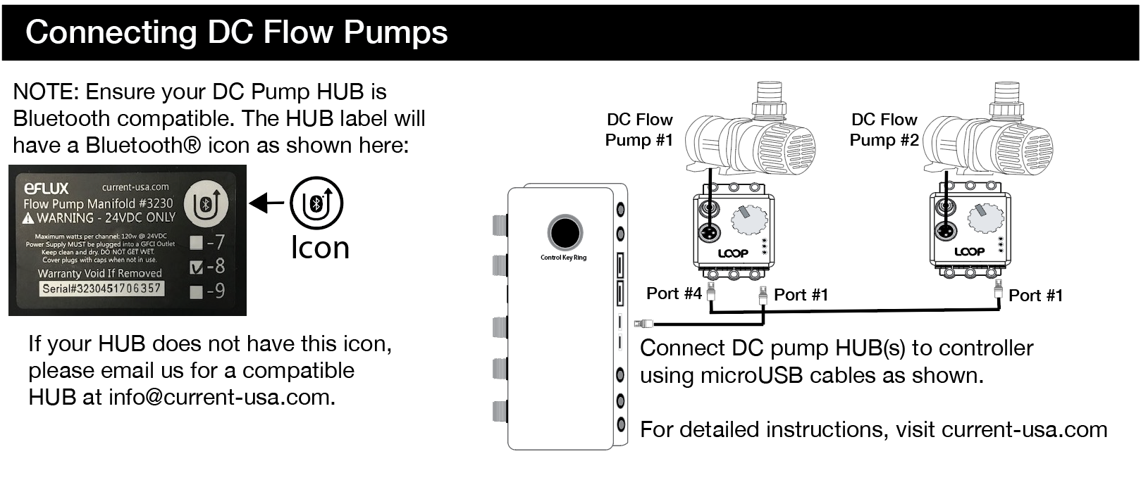 how do i connect my dc pumps to the loop bluetooth controller?